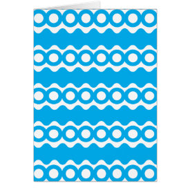 Bright Teal Turquoise Blue Waves Circles Pattern Greeting Card