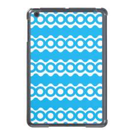 Bright Teal Turquoise Blue Waves Circles Pattern iPad Mini Covers