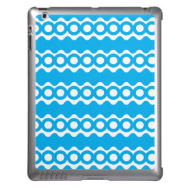 Bright Teal Turquoise Blue Waves Circles Pattern Cover For iPad