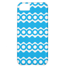 Bright Teal Turquoise Blue Waves Circles Pattern iPhone 5C Covers