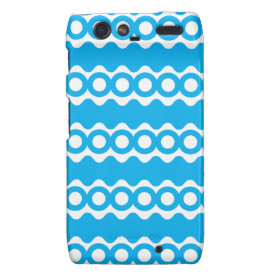 Bright Teal Turquoise Blue Waves Circles Pattern Droid RAZR Covers