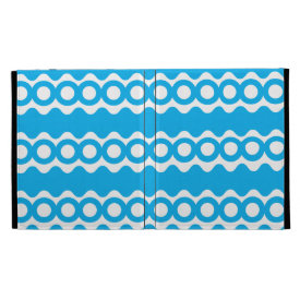 Bright Teal Turquoise Blue Waves Circles Pattern iPad Folio Case