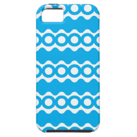 Bright Teal Turquoise Blue Waves Circles Pattern iPhone 5 Covers