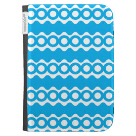 Bright Teal Turquoise Blue Waves Circles Pattern Kindle Keyboard Cases