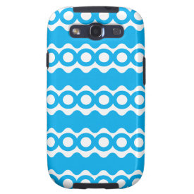Bright Teal Turquoise Blue Waves Circles Pattern Samsung Galaxy SIII Cases