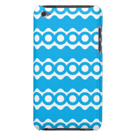 Bright Teal Turquoise Blue Waves Circles Pattern iPod Touch Case-Mate Case