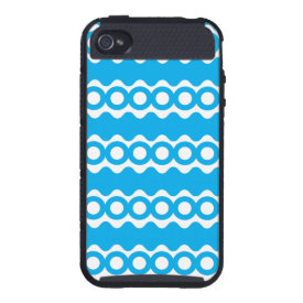 Bright Teal Turquoise Blue Waves Circles Pattern iPhone 4/4S Covers