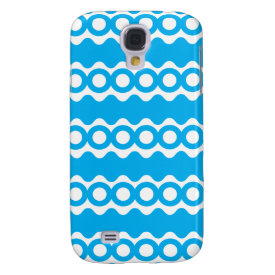 Bright Teal Turquoise Blue Waves Circles Pattern Samsung Galaxy S4 Covers