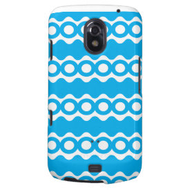 Bright Teal Turquoise Blue Waves Circles Pattern Samsung Galaxy Nexus Cases