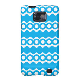 Bright Teal Turquoise Blue Waves Circles Pattern Galaxy SII Cases