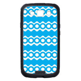 Bright Teal Turquoise Blue Waves Circles Pattern Samsung Galaxy S3 Case