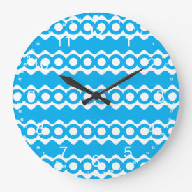Bright Teal Turquoise Blue Waves Circles Pattern Wall Clocks