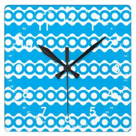 Bright Teal Turquoise Blue Waves Circles Pattern Square Wallclock