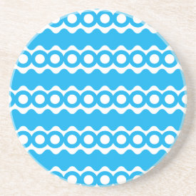 Bright Teal Turquoise Blue Waves Circles Pattern Drink Coasters