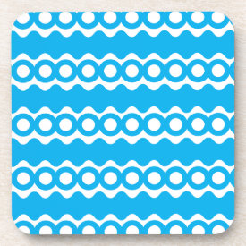 Bright Teal Turquoise Blue Waves Circles Pattern Beverage Coasters