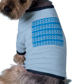 Bright Teal Turquoise Blue Waves Circles Pattern Pet Tshirt