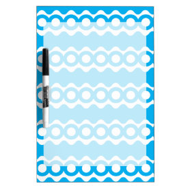 Bright Teal Turquoise Blue Waves Circles Pattern Dry-Erase Whiteboard