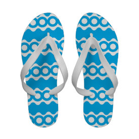 Bright Teal Turquoise Blue Waves Circles Pattern Sandals