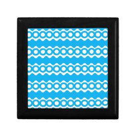 Bright Teal Turquoise Blue Waves Circles Pattern Trinket Box