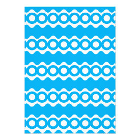 Bright Teal Turquoise Blue Waves Circles Pattern Personalized Invitations
