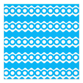 Bright Teal Turquoise Blue Waves Circles Pattern Personalized Invite