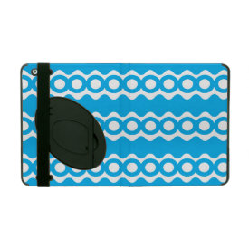 Bright Teal Turquoise Blue Waves Circles Pattern iPad Case