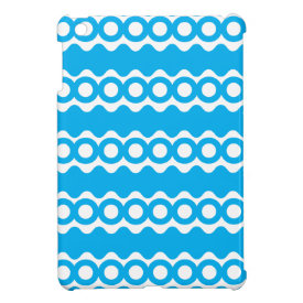 Bright Teal Turquoise Blue Waves Circles Pattern iPad Mini Cases