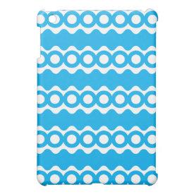 Bright Teal Turquoise Blue Waves Circles Pattern iPad Mini Case