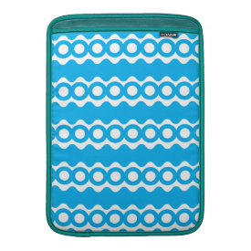 Bright Teal Turquoise Blue Waves Circles Pattern MacBook Sleeve