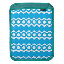 Bright Teal Turquoise Blue Waves Circles Pattern Sleeve For iPads