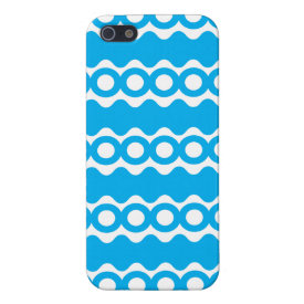 Bright Teal Turquoise Blue Waves Circles Pattern iPhone 5 Case