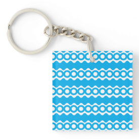 Bright Teal Turquoise Blue Waves Circles Pattern Square Acrylic Key Chains
