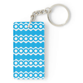 Bright Teal Turquoise Blue Waves Circles Pattern Rectangle Acrylic Key Chains