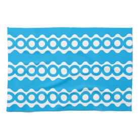 Bright Teal Turquoise Blue Waves Circles Pattern Towel