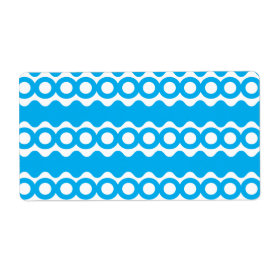 Bright Teal Turquoise Blue Waves Circles Pattern Personalized Shipping Label