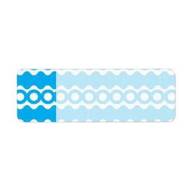 Bright Teal Turquoise Blue Waves Circles Pattern Custom Return Address Labels