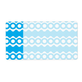 Bright Teal Turquoise Blue Waves Circles Pattern Custom Shipping Labels