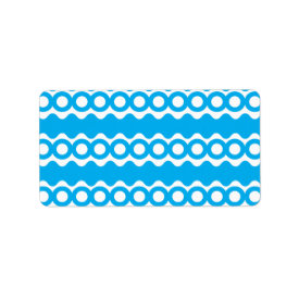 Bright Teal Turquoise Blue Waves Circles Pattern Labels
