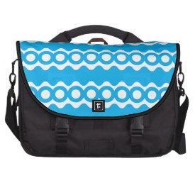 Bright Teal Turquoise Blue Waves Circles Pattern Laptop Bag