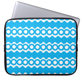 Bright Teal Turquoise Blue Waves Circles Pattern Laptop Sleeve