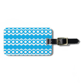 Bright Teal Turquoise Blue Waves Circles Pattern Tags For Bags