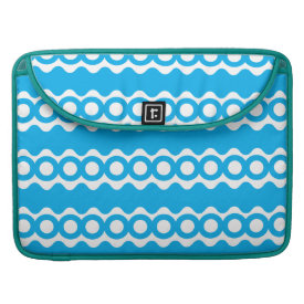 Bright Teal Turquoise Blue Waves Circles Pattern Sleeves For MacBook Pro