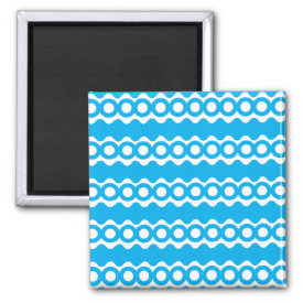 Bright Teal Turquoise Blue Waves Circles Pattern Fridge Magnet