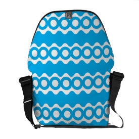 Bright Teal Turquoise Blue Waves Circles Pattern Courier Bag