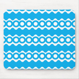 Bright Teal Turquoise Blue Waves Circles Pattern Mouse Pad