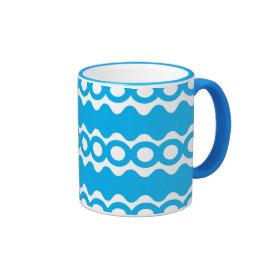 Bright Teal Turquoise Blue Waves Circles Pattern Coffee Mug