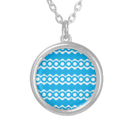 Bright Teal Turquoise Blue Waves Circles Pattern Jewelry