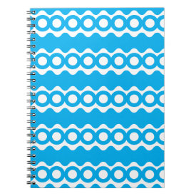 Bright Teal Turquoise Blue Waves Circles Pattern Note Book