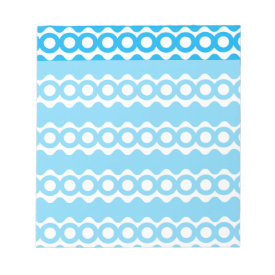Bright Teal Turquoise Blue Waves Circles Pattern Notepad
