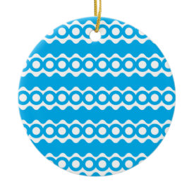 Bright Teal Turquoise Blue Waves Circles Pattern Christmas Ornaments